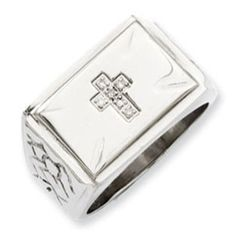 Men's Textured Stainless Steel Diamond Cross Ring Gemologica.com offers a unique and simple selection of handmade fashion and fine jewelry for men, woman and children to make a statement. We offer earrings, bracelets, necklaces, pendants, rings and accessories with gemstones, diamonds and birthstones available in Sterling Silver, 10K, 14K and 18K yellow, rose and white gold, titanium and silver metal. Shop Gemologica jewellery now for cool and cute design ideas: www.gemologica.com