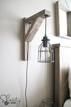 Build this DIY Rustic Corbel Light Sconce for 25 Creative bedroom lamp but perfect for so many spots in your home Free plans at Bedroom Lamps, Bedroom Lighting, Home Decor Bedroom, Diy Home Decor, Bedroom Rustic, Diy Bedroom, Rustic Room, Bedroom Ideas, Bedroom Wall Lights