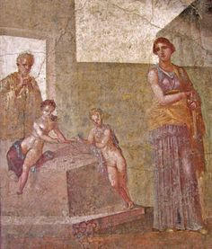 6.Roman: woman wearing a different colored sleeveless under tunic, a purple stola and gold palla.