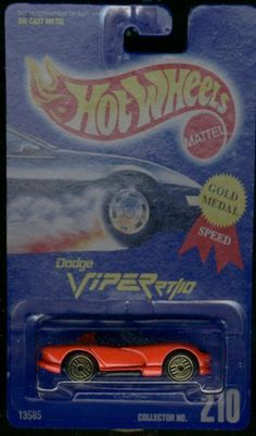 "Hot Wheels Red Dodge Viper RT/10 #210 Gold Medal Gold Ultra Hots 1:64 Scale by Mattel. $1.13. ""Gold Medal Speed"" Card. Solid Red Car with Gold Ultra Hot (GUH) Wheels. 1:64 Scale Die-Cast Collectible Car"
