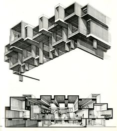 Paul Rudolph....I love love love drawings of architecture like this. I guess its the drafter in me :)