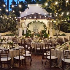 Amazing outdoor evening wedding reception at Rancho Las Lomas with overhead bistro lighting [Instagram photo by A Good Affair Wedding  Event Production (Natalie Good) | Statigram] www.agoodaffair.com