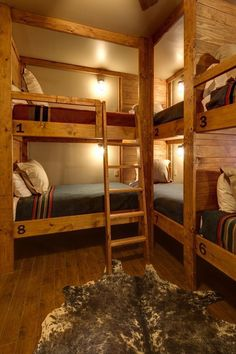 This rustic lodge-style bunk room boasts a slew of built-in bunk beds, maximizing space in the small room. Coordinating bedding keeps the space feeling neat. #LodgeDecor