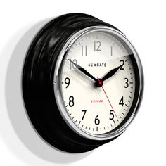 Bring stylish sophistication to your home with this Cookhouse Wall Clock from Newgate. Featuring a beautifully curved metal case in black, it is complemented by the chrome plated bezel and finished wi Thomas Kent Clocks, Black Clocks, Kitchen Wall Clocks, Quirky Decor, Large Clock, Living Room Remodel, Chrome Plating, Black House, Design