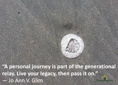 """""""A personal journey is part of the generational relay. Live your legacy, then pass it on."""" - Jo Ann V. Personal History, Family History, Live For Yourself, Genealogy, Journey, Writing, Ann, Quotes, Quotations"""