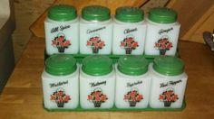 Vtg Tipp Milk Glass 9pc Spice Set Counter or Wall Mount Rack Floral Pattern | eBay
