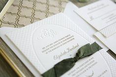 Oh So Beautiful Paper: Elizabeth + Ricky's Elegant Trellis Wedding Invitations