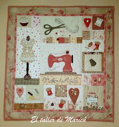 I like some parts of this design but want mine larger and with definite sashing. Owl Quilts, Cute Quilts, Sampler Quilts, Small Quilts, Mini Quilts, Applique Quilts, Patchwork Patterns, Quilt Patterns Free, Quilting Projects