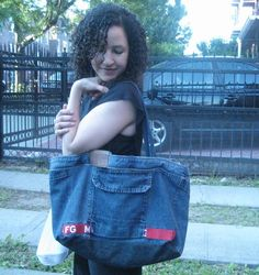Nelesc Designs: Tutorial Tuesday: Denim Tote from Left Over Pockets