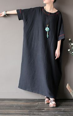 linen dress Casual o neck Work black Robe asymmetric Half sleeve Dresses - Dresses for Work Simple Dress Pattern, Dress Patterns, Half Sleeve Dresses, Half Sleeves, Simple Dresses, Casual Dresses, Dresses Dresses, Dance Dresses, Black Women Fashion