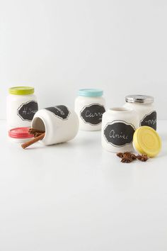 Spice Jars with Chalkboard Labels -- You could easily paint old babyfood jars & make your own