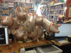 Lots of little walking pet piggies for a pink pig    party