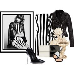 A fashion look from June 2013 featuring black and white dress, real leather jackets and stiletto pumps. Browse and shop related looks. Fashion Outfits, Womens Fashion, Shoe Bag, Hair Styles, Polyvore, Bags, Stuff To Buy, Shopping, Accessories