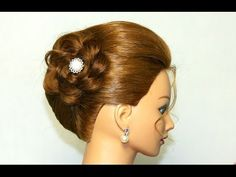 ▶ Hairstyles for medium long hair. Updo with braided flower - YouTube