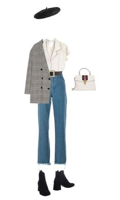 Beret, plaid pea coat, high waisted jeans paired with a white low cut collar tee Baskenmütze, karierter Pea Coat, hoch taillierte Jeans gepaart mit einem [. Look Fashion, Hijab Fashion, Korean Fashion, Winter Fashion, Fashion Outfits, Womens Fashion, Fashion Trends, 80s Fashion, Fashion History