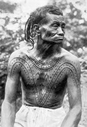 Lower Konyak man with chest tattooing, ca. 1925