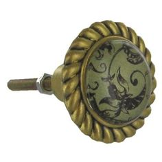 Pewter Knob with Black Leaves, $4.99