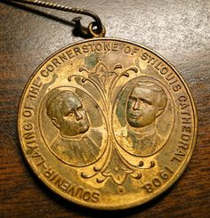 """1908 ST LOUIS Religious Medal - St Louis Cathedral Medal - Laying Of The Cornerstone 1908 - 1 1/2"""" Diameter - Very Nice!! by EagleDen on Etsy"""