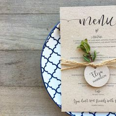 Wedding Menu vintage kraft natural rustic twine name tag place card wedding table setting idea style diy script calligraphy custom simple backyard guest melbourne australia ink hearts paper Diy Menu Cards, Diy Wedding Menu Cards, Rustic Wedding Programs, Wedding Place Cards, Wedding Rustic, Card Wedding, Trendy Wedding, Wedding Venues, Wedding Catering