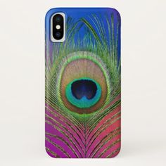 Tail feather of a peacock iPhone x case - beautiful gift idea present diy cyo