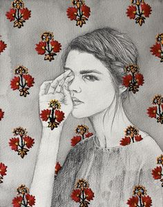 Beautiful - the artist uses embroidery to accent her artwork.  By Izziyana Suhaimi
