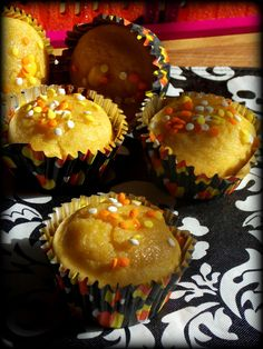 Candy Cornbread Cupcakes are perfect for a Halloween party or trick or treat. Great way to use up candy corn too!