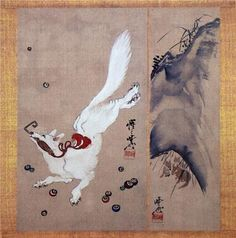 Artist: Kawanabe Kyosai Japanese Fox, Japanese Folklore, Japanese Drawings, Japanese Prints, Fox Art, Japanese Painting, Japan Art, Chinese Art, Artwork Prints