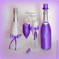 Всем привет! Хочу показать новый свадебный набор. Здесь мне все нравится, кроме большой свечи. Но бокалы, бутылки и свечи были предоставлены самими заказчиками. Так что, что имела, то и декорировала) фото 4
