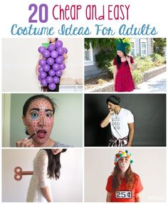 Pin for Later: halloween costumes. These Halloween costume ideas are perfect for last-minute costumes that can be done easily the day of and for little to now money! No-sew strawberry, 9 D's (the and a bunch of grapes - you just… Cheap Adult Costumes, Quick Easy Halloween Costumes, Purim Costumes, Easy Costumes, Homemade Costumes, Halloween Costumes For Girls, Cheap Costume Ideas, Halloween Ideas, Teen Costumes