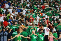 Ireland fans do the Poznan as they enjoy the atmosphere during the UEFA EURO 2012 group C match between Italy and Ireland