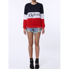 276a6832891 Preppy Style Round Neck Color Block Letter Print Long Sleeve Flocking  Sweatshirt For Women Block Lettering