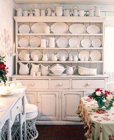 ironstone, white cupboard