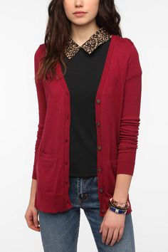 BDG Long Drapey Classic Cardigan Online Only