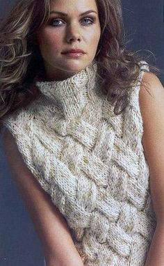 A lovely hand-knitted jacket (pattern and knitting scheme included) - Soft cream sleeveless turtleneck basketweave sweater Knitting Designs, Knitting Stitches, Free Knitting, Knitting Projects, Knitting Patterns, Crochet Patterns, Knitting Ideas, Knit Vest, Jacket Pattern