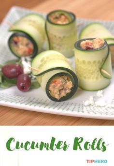 Cucumber Rolls Recipe | Lighten up your lunch with this deliciously addictive roll ups. Filled with a savory hummus mixture, they are super easy to make. Perfect for hot days, luncheons or as a dinnertime side. Click for the recipe and video.  #healthyrecipes #healthymeals #vegetarian #easyapps