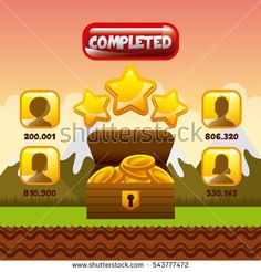 video game interface with users, stars and  box with gold coins icon. colorful design. vector illustration