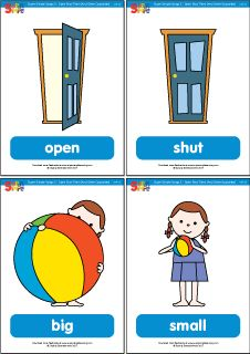 "Practice opposites with flashcards for the Super Simple Learning version of ""Open Shut Them."" #preK #Kindergarten #ESL"