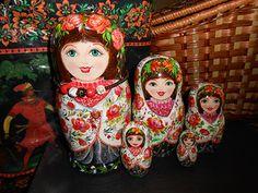 Russian author's nesting dolls matryoshka in style khokhloma modern handmade. Buy: http://www.etsy.com/shop/Artworkshop1