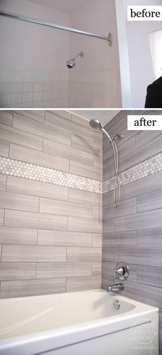 Bathroom Remodel on a Budget Love The Marble Hexagon Accent Tile.