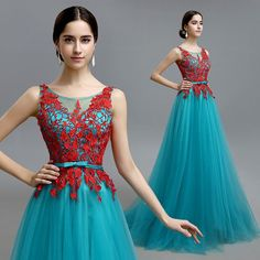 Blue gauze silk satin floor length evening gown Aline red lace top prom dress 001