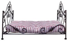 Wrought Iron Dog Bed with Mattress rustic-pet-beds