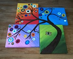 Tree set of 4 size 8x10 each acrylic painting by ArtByChrista, $150.00. Ridiculous prices! But could do this myself as well. Different colors. Something brighter to match guest room quilt and no butterflies. :)