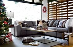 Creature comforts. Rustic, natural elements and modern styling come together in this warm and inviting room. #urbanbarn