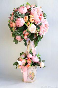 Купить Топиарий - розовый, топиарий, Дерево счастья, топиарий дерево счастья, топиарий ручной работы