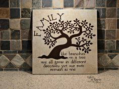 12x12 Family like br12x12 Family like branches on a tree we all grow in different directions, Family Sign, Family Tile, Unique Family Gift - pinned by pin4etsy.com