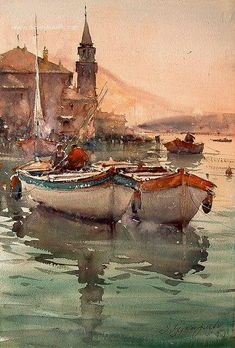 super ideas for painting watercolor sunset landscapes Art Watercolor, Watercolor Sunset, Watercolor Landscape, Landscape Paintings, Landscapes, Boat Art, Sunset Landscape, Nautical Art, Beautiful Paintings