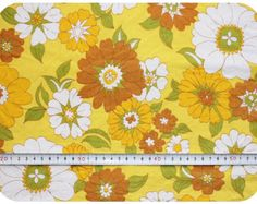 Floral retro vintage fabric - yellow, orange, brown, green and white Retro Fabric, Vintage Fabrics, Vintage Marketplace, Home Interior Design, Fabric Design, Retro Fashion, Craft Supplies, Retro Vintage, Retro Styles