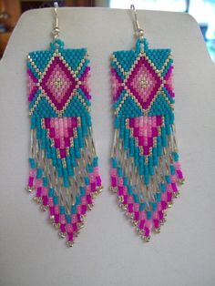Native American Beaded Diamond Rug Earrings by BeadedCreationsetc, $30.00