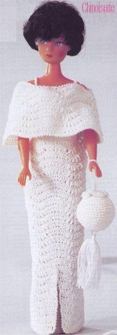 Barbie #Vestido #Dress #Doll #Chapéu #Muñeca #Hat #Crochet #Bolsa ...