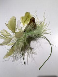 Bird headband - Green Bird -feather Fascinator- Bird headband -Kentucky Derby- cocktail hat-Mad Hatter Facinator-Brooklyn Derby-